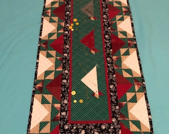 Vintage table runner, green and burgundy with appliqué chickens and some buttons