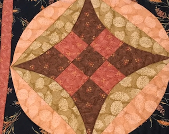 """Vintage table runner, green and browns, 20"""" x 45.5"""""""
