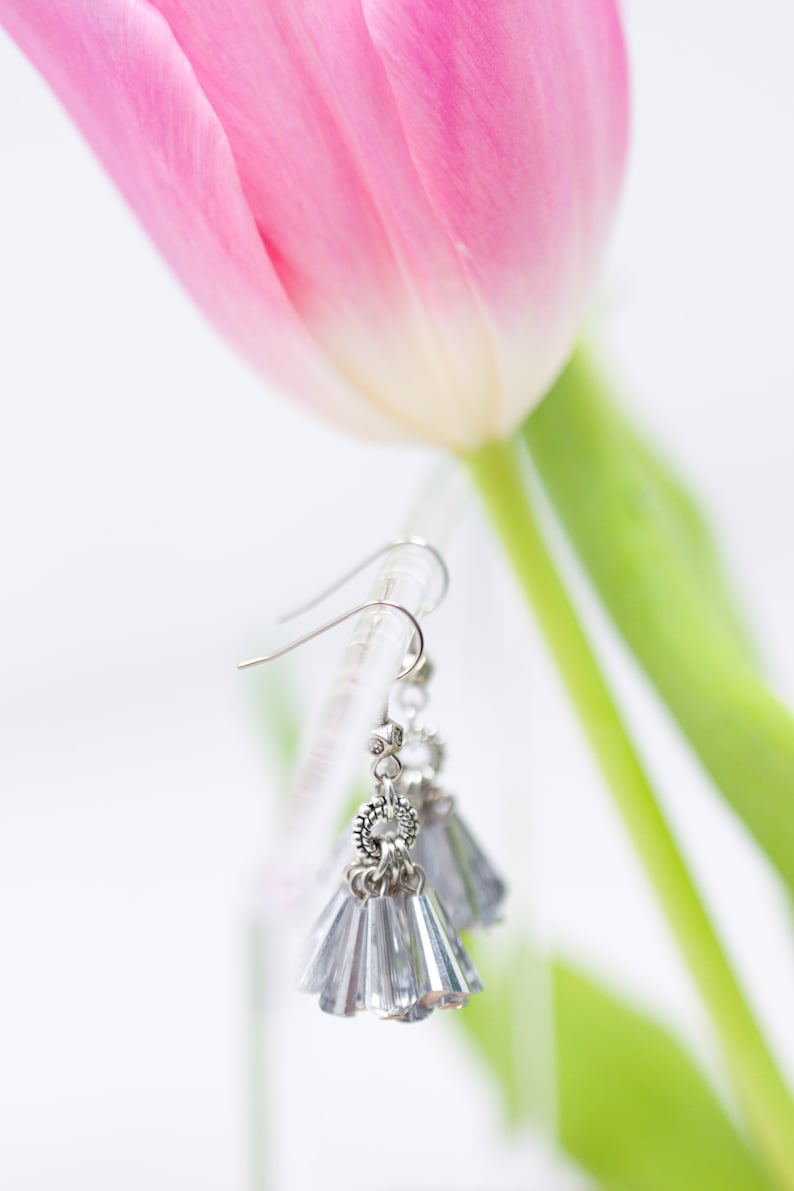 Cluster crystals Crystal love feminine gifts for her Reflections Mirroring Crystals handmade Crystal Earrings ice queen earrings