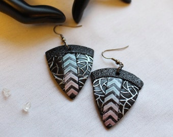 African Dangle Earrings Handcrafted - Polymer Clay Earrings no 8