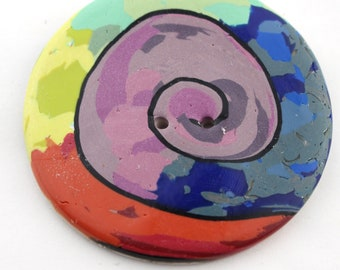 Extra Large polymer clay buttons 2 inch, 2 1/2 inch button Large Spiral sewing buttons unique buttons No. 164