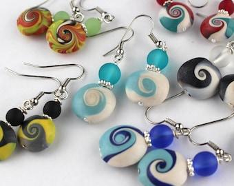 Polymer Clay Earrings, Wave Design Dangles, Statement Earrings, Minimalist Earrings .Handmade gift. Featherlite Earrings