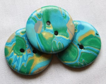 Blue, Green and Gold Mokume Gane Buttons 1 1/4 inch No. 371