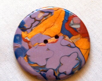 Extra Large Red Copper, Lavender and Gold Mokume Gane Buttons, 2 inch, No. 247