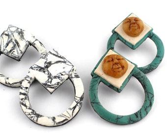 Post statement earrings, Earrings for sensitive ears, Titaium earrings, Large hoop earring