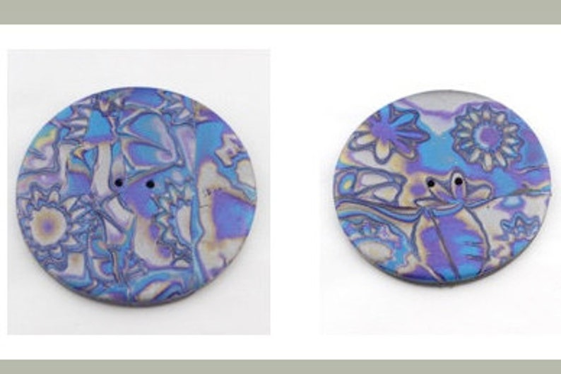 Silver Blue and Purple 2 to 2 12inch Buttons Gold No 17