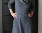 Cowl Neckline Dress With Long Sleeves, Grey Jersey