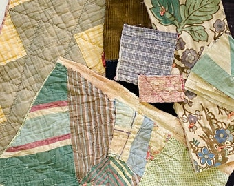Antique Vintage Hand Stitched Quilt Pieces, Slow Stitching Textile Collage Upcycle Repurpose Well Worn Storied Fabrics Art Bundle #5020