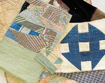Antique Vintage Hand Stitched Quilt Pieces, Slow Stitching Textile Collage Upcycle Repurpose Well Worn Storied Fabrics Art Bundle #5024