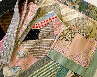 Antique Vintage Hand Stitched Quilt Pieces, Slow Stitching Textile Collage Upcycle Repurpose Well Worn Storied Fabrics Art Bundle #5022