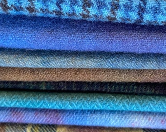 Hand Dyed Over Dyed Wool Bundle in Blue, Purple, Teal for Rug Hooking, Applique, Penny Rug, Fiber Arts, Mixed Media, Hand Stitching - #4004