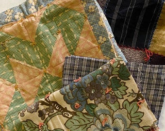 Antique Vintage Hand Stitched Quilt Pieces, Slow Stitching Textile Collage Upcycle Repurpose Well Worn Storied Fabrics Art Bundle #5037