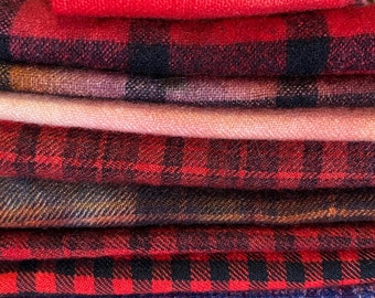 Red, Maroon, Burgundy Hand Dyed Over Dyed Vintage Wool Bundle for Rug Hooking, Applique, Fiber Arts, Mixed Media, Hand Stitching - #4001