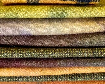 Gold, Orange, Brown Hand Dyed Over Dyed Upcycled Wool Fabrics for Rug Hooking, Applique, Fiber Arts, Mixed Media, Hand Stitching - #4003