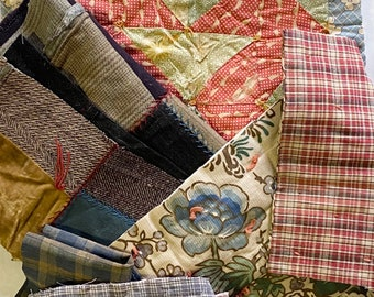 Antique Vintage Hand Stitched Quilt Pieces, Slow Stitching Textile Collage Upcycle Repurpose Well Worn Storied Fabrics Art Bundle #5036