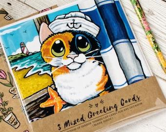 Cat Art Greeting Card Sets, Indoor Cats, Cats & Birds, Seaside Cats, 3-4 designs per pack