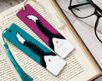 Cat Butt Mini Bookmarks, Hand Painted, Wooden with Tassel