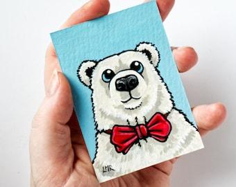 ACEO, Original Miniature Painting, Polar Bear Wearing Bow Tie