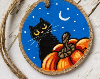 Black Cats and Pumpkins Wooden Slice Halloween Decorations
