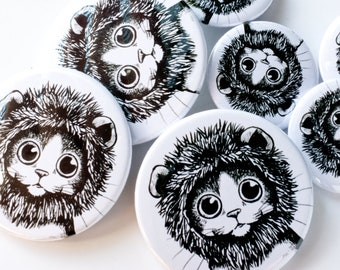 Kitty Cat Dressed as Lion Button Badge
