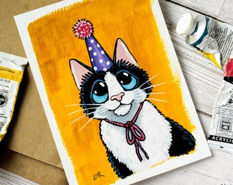 Original Acrylic Painting - Birthday Cat - OSWOA