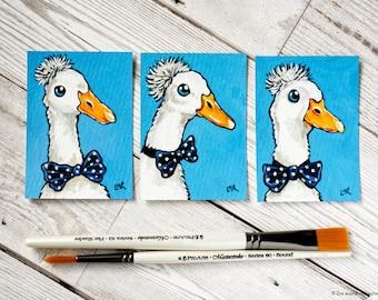 ACEO, Original Miniature Painting, Dapper Ducks