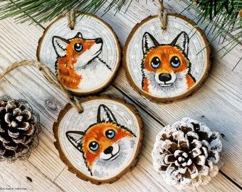 Wood slice Fox Christmas ornament, Hand painted wood slice decoration