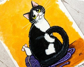 Cat & Mouse with Wool Ball - Original Acrylic Painting OSWOA