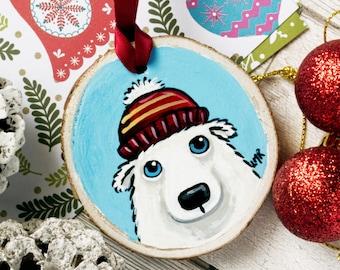 Polar Bear Wearing Bobble Hat, Hand painted Wood Christmas Tree Decoration