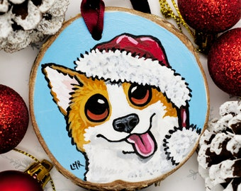 Festive Corgi Santa Dog Hand Painted Wooden Christmas Tree Decoration