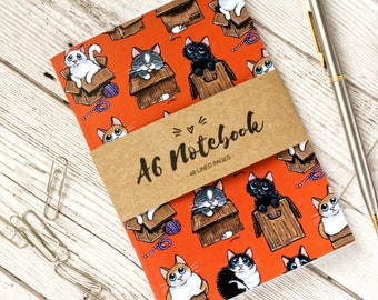 A6 Cat Notebook - Cats in Boxes