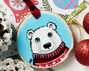 Polar Bear in Christmas Jumper, Hand painted Wood Christmas Tree Decoration