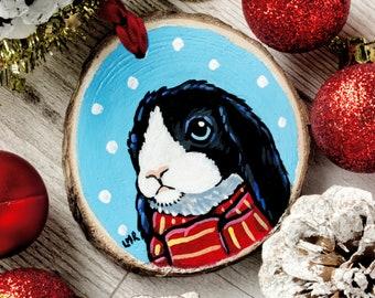Cute Bunny Rabbit Hand painted Wood Christmas Tree Decoration