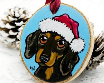 Sausage Dog Festive Dachshund Hand Painted Wooden Christmas Tree Decoration