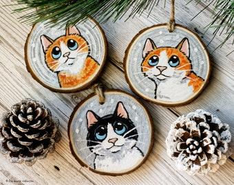 Wood slice Cat Christmas ornament, Hand painted wood slice decoration