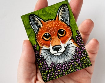 ACEO, Original Miniature Painting, Red Fox, Heather