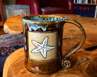 Starfish Scroll Handle Handmade Ceramic Mug