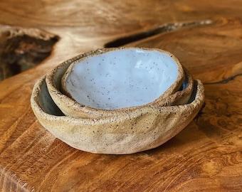 Three White stoneware mini nesting bowls
