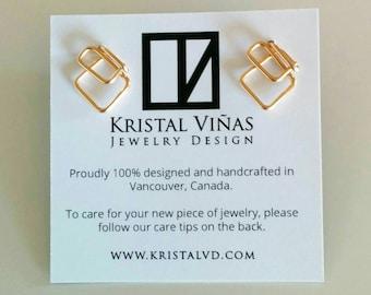 Stud Earrings Rhomboid shape - 14 kt Gold Filled