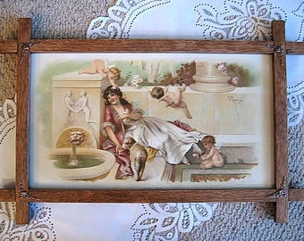 Antique Lady Cupids Print   Virgilio Tojetti E349   Victorian Cupid Cherub Angel Fairy   Vintage Wood Frame Lady Corners