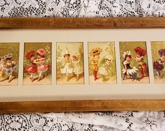 6 Language of Flowers Antique  French Lady Girl Doll Print s Framed E805   c1870 Bon Marche   Anthropomorphic Flower   Trade Card