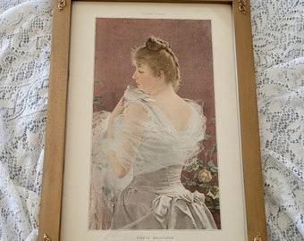 Antique French Lady Bird Print   Vittorio Mateo Corcos E1085   Faithful Messenger   Antique Lady Dove Print   Victorian Love   Half Yardlong