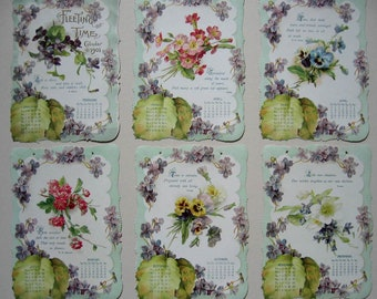 c1901, Antique, Violets, Calendar, Die Cut, Print s, Roses, Pansies, Chromolithograph, Framed, E96