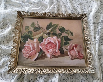 Pink Roses Print by Patty Thum E1163   Vintage Pierced Metal White Washed Frame   Boudoir Art   Home Decor