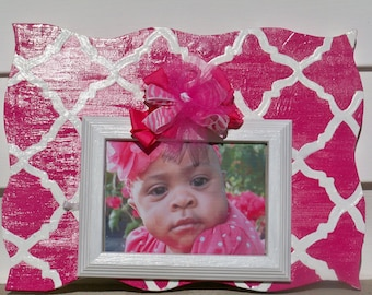 Quatrefoil Picture Frame with Coordinating Bow