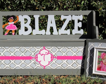 Inspirational Personalized African American Ballerina Toy Box/Storage Bench