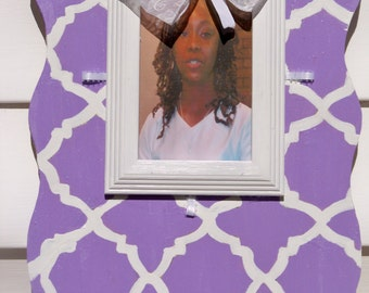 Purple and White Wooden Picture Frame with matching interchangeable Bows
