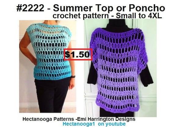 Crochet Poncho Pattern Easy Crochet Sweater Summer Poncho Etsy