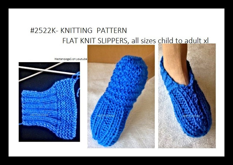 Easy KNITTING PATTERN flat knit unisex slippers all sizes 2 image 0