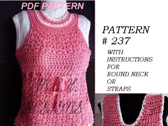 Crochet Pattern Number 237 Tank Top Size 1 To Adult Xx Etsy